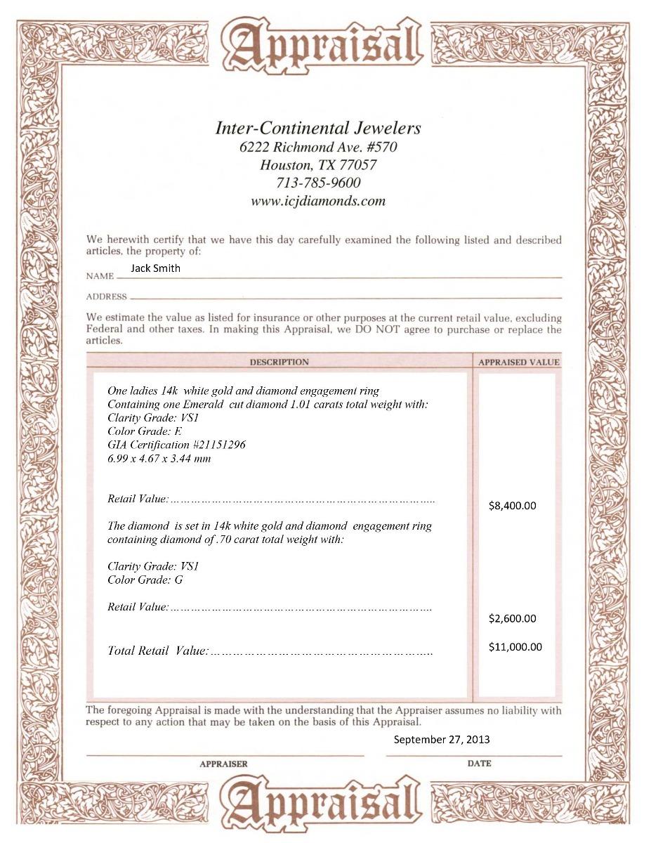 Jewelry Appraisal Certificate