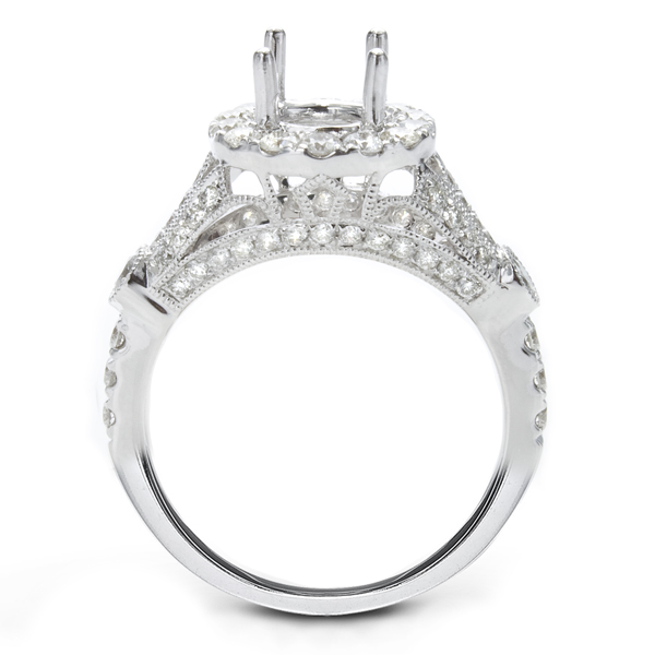 Magnolia 14K White Gold Diamond Engagement Ring; 0.90 ct image 1