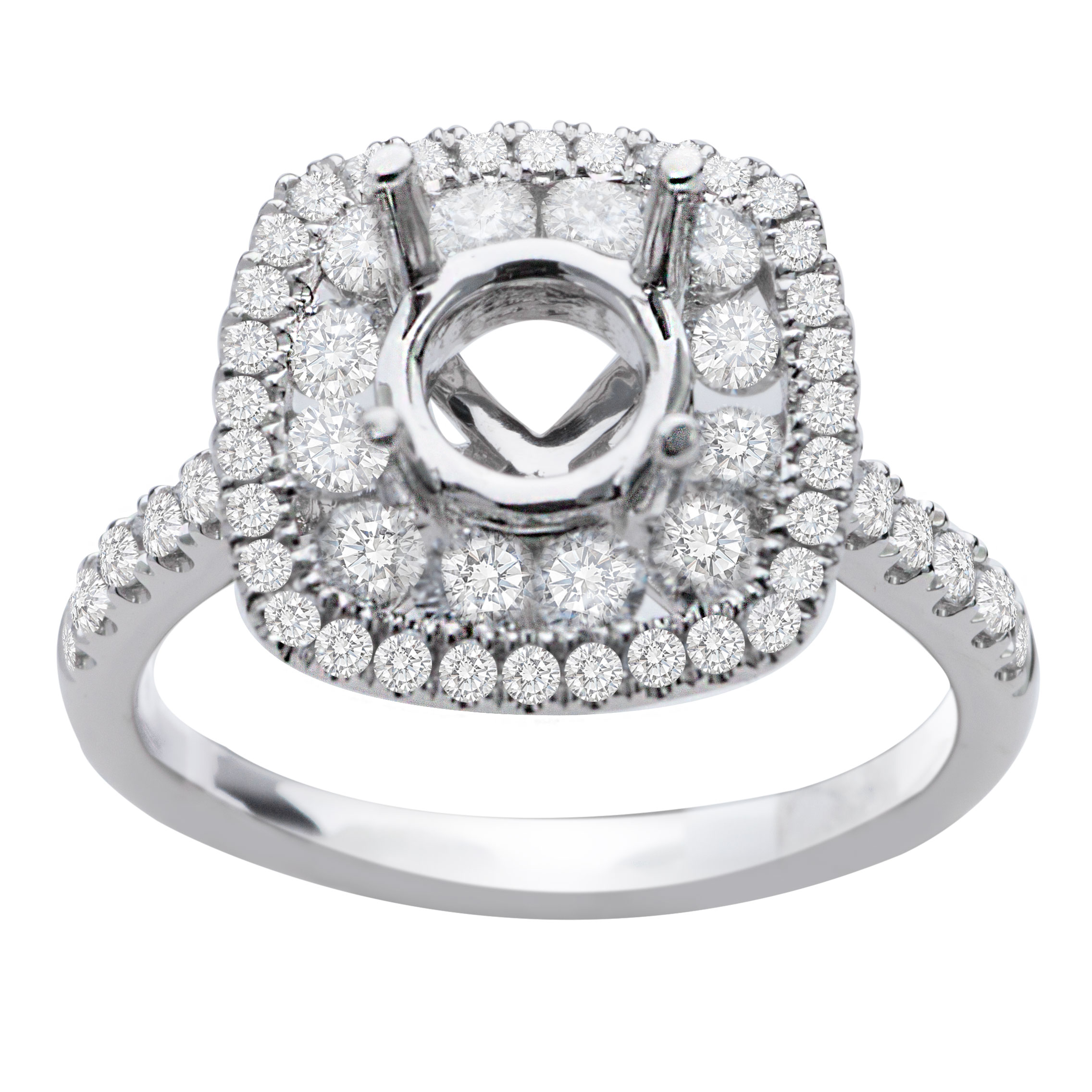 Hazel Double Halo Engagement Ring in 14K White Gold; 0.85 ctw image 1