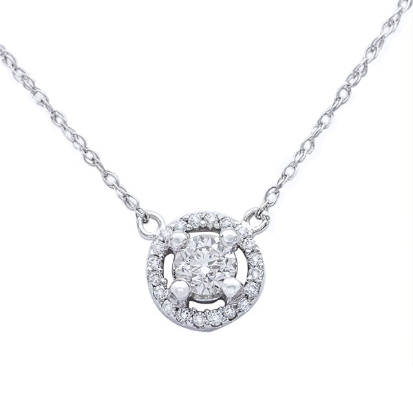 Halo Diamond Pendant in 14K White Gold; Shown with  0.61 ctw   image 1