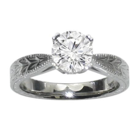 Hand Engraved Milgrain Engagement Ring in 14K White Gold  image 0