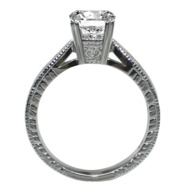 Hand Engraved Milgrain Engagement Ring in 14K White Gold  image 1
