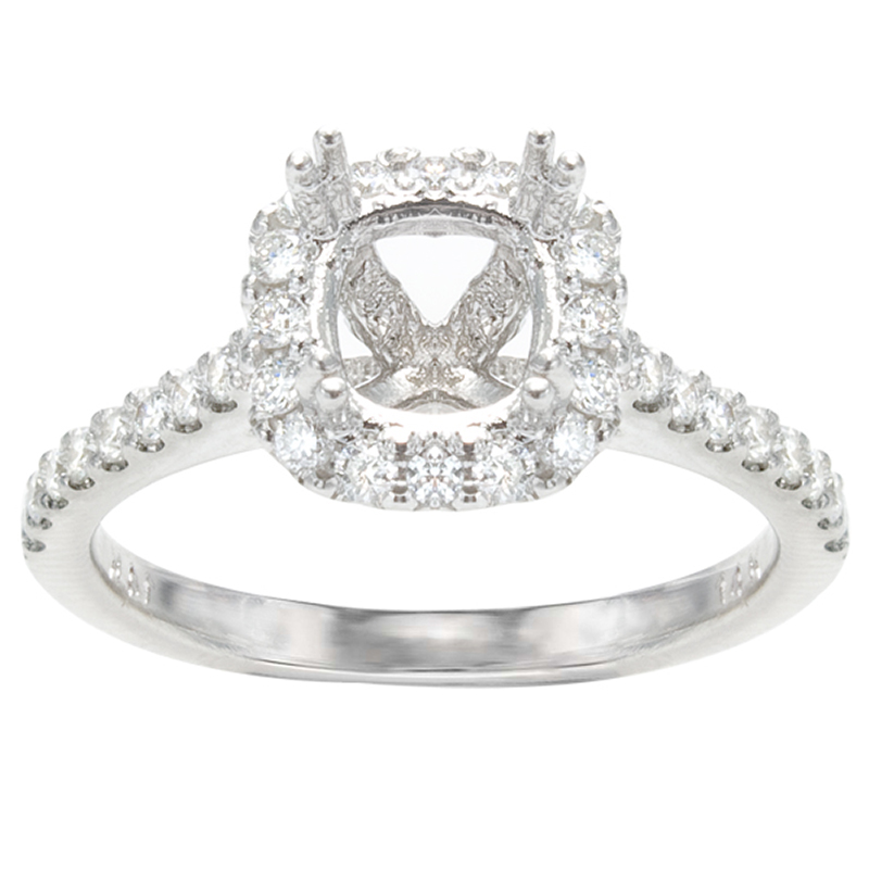 Aurora Cushion Halo Engagement Ring; .56 ctw image 0