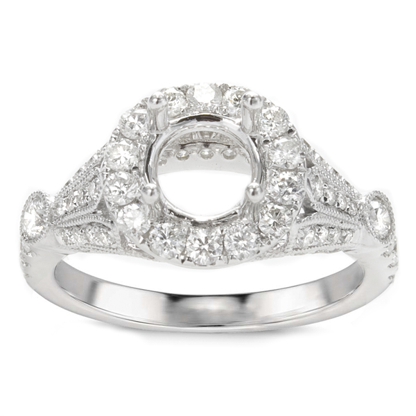 Magnolia Halo Diamond Engagement Ring; .90 ct image 0