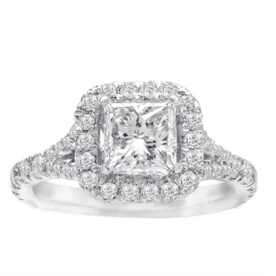 Teresa Princess Halo Pave Diamond Engagement Ring in 14k White Gold; Diamond 2.20 ctw