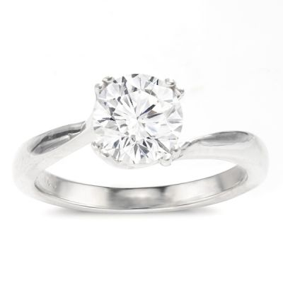Kyra Bypass Solitaire Setting in 14K White Gold