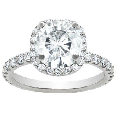 Lucia Halo Diamond Engagement Ring; 3.03 ctw
