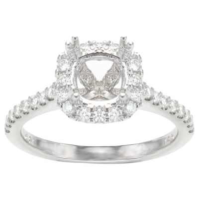 Aurora Cushion Halo Engagement Ring; .56 ctw with 2.01 Carat Round Diamond