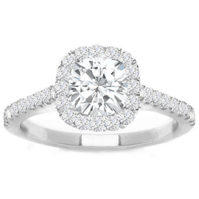 Celina Cushion Halo Diamond Engagement Ring in 14K White Gold; 0.56 ct