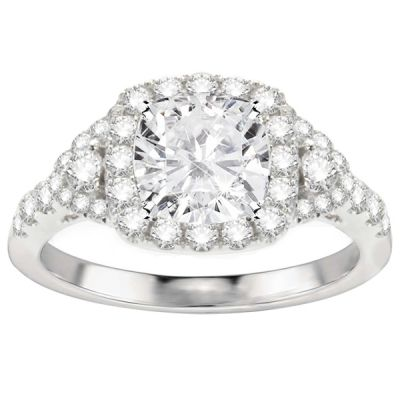 Zara Halo Diamond Engagement Ring in 14K White Gold; .70 ct