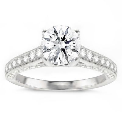Calista Diamond Engagement Ring in 14K White Gold; 0.71 ct