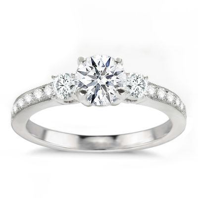 Three-Stone Engagement Ring in 14K White Gold- Amaria; 1.15 ctw