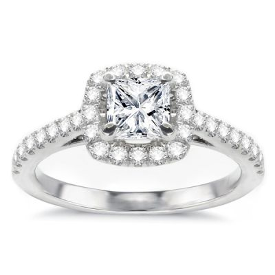 Aimee Diamond Halo Engagement Ring in 14K White Gold; 0.92 ct