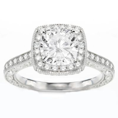 Ines Crescent Cushion Halo Engagement Ring in 14K White Gold; 0.92 ct