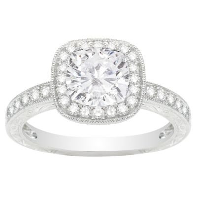 Madeleine Cushion Halo Engagement Ring in 14K White Gold; .27 ct