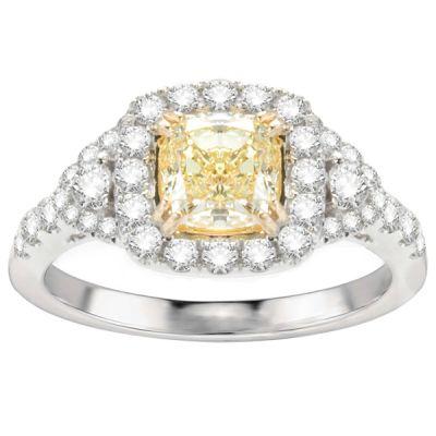 Zara Fancy Yellow Cushion Diamond Engagement Ring; 1.76 ctw