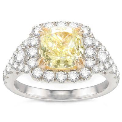 Renee 14K White Gold Yellow Diamond Engagement Ring; 3.06 ctw