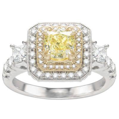 Alana 14K White Gold Yellow Diamond Engagement Ring; 1.91 ctw
