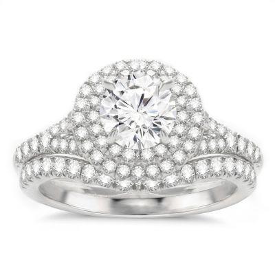 Engagement Ring Set in 14K White Gold- Elsa; 2.00 ctw
