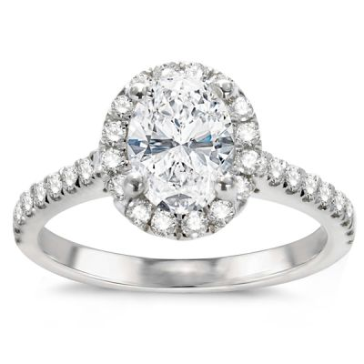 Farrah Oval Halo Engagement Ring in 14K White Gold; 0.53 ct