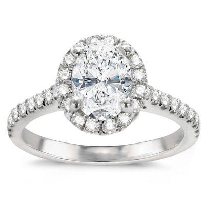 14K White Gold Oval Diamond Engagement Ring; Diamond Weight: 2.13 ctw