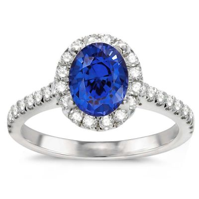 Genesis Oval Sapphire Ring in 14K White Gold; 1.55 ctw
