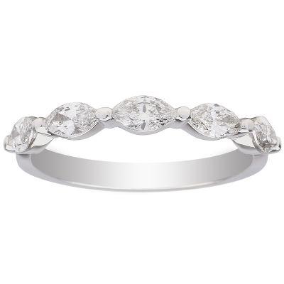 Floating Marquise 14K WG Single Prong 5 Diamond Wedding Band; 0.70 ctw