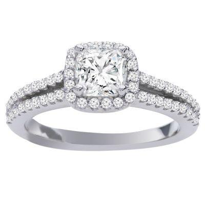 Sarah Halo with Cushion Diamond Engagement Ring in 14k White Gold; Diamond 0.40 ctw