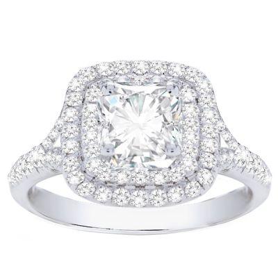 Ileana Double Halo Cushion Diamond Engagement Ring; 1.61ctw