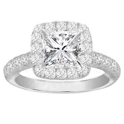 Lydia Halo Princess Cut Diamond Engagement Ring; .85ctw