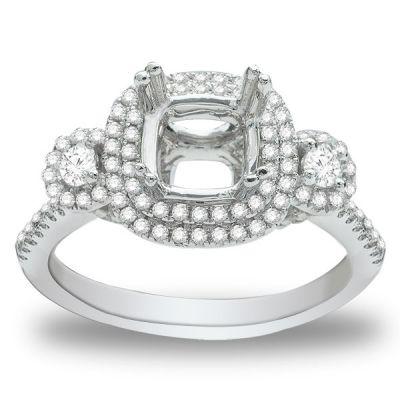 Skyler Three Stone Diamond Engagement Ring in 14k White Gold; Diamond .60 ctw with 0.84 Carat Radiant Diamond