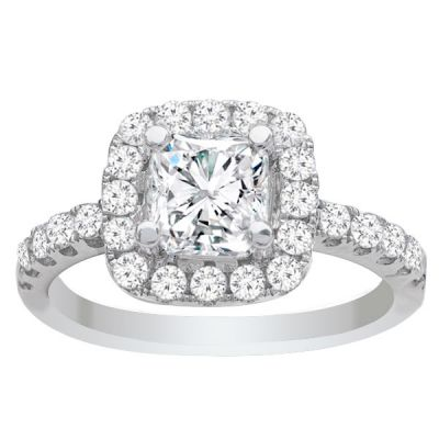 Ava 14K White Gold Cushion Halo Diamond Engagement Ring; .67 ctw