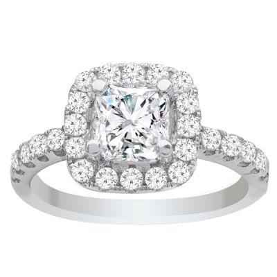 Ava 14K White Gold Cushion Halo Diamond Engagement Ring; 1.87 ctw