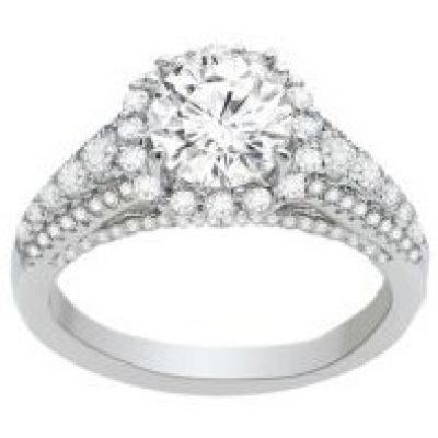 Annabelle Halo Diamond Engagement Ring in 14K White Gold; 0.90ctw