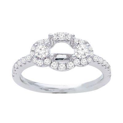 Scarlett Three Stone Diamond Engagement Ring in 14k White Gold; Diamond .50ctw with 0.7 Carat Round Diamond