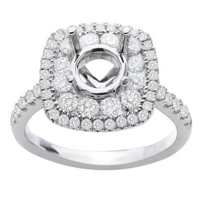 Hazel Double Halo Engagement Ring in 14K White Gold; 0.85 ctw
