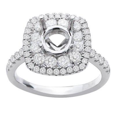 Hazel Double Halo Diamond Engagement Ring; Diamond .85 ctw with 0.8 Carat Emerald Diamond