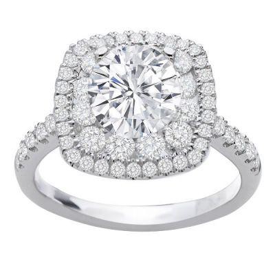 Hazel Double Halo Diamond Engagement Ring in 14K White Gold; 0.85 ctw