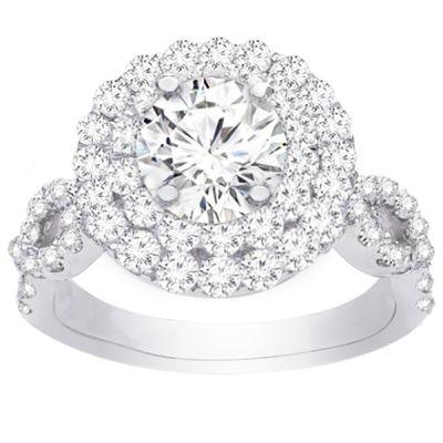 Ella Double Halo Diamond Engagement Ring; Diamond 1.00 ctw