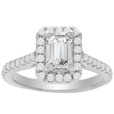 Kaylee Emerald Diamond Halo Engagement Ring; 0.54 ct