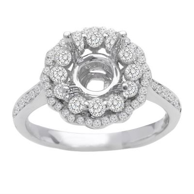 Yasmeen Double Halo Floral Diamond Engagement Ring; 0.60ctw