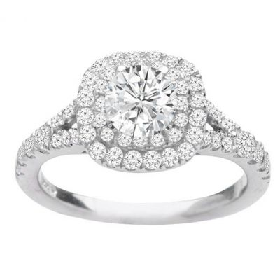 Ellie Double Halo Diamond Engagement Ring in 14K White Gold; 0.60 ctw
