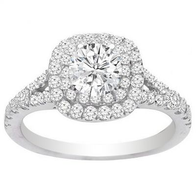 Ellie Double Halo Engagement Ring in 14K White Gold; 0.60 ct
