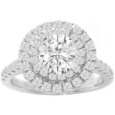 Ellena Double Halo Diamond Engagement Ring; With Rose gold; 0.33ctw