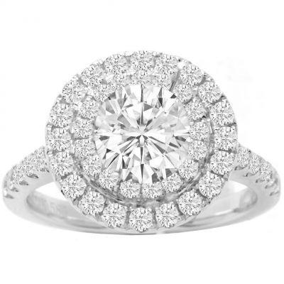 Ellena Double Halo Diamond Engagement Ring; 1.52ctw