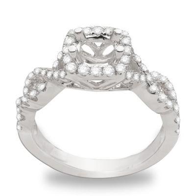 Maya Intertwined  Halo Engagement Ring; 0.54ctw with 0.72 Carat Princess Diamond
