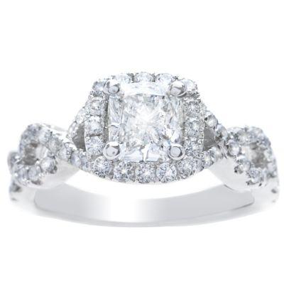 Maya Intertwined  Halo Engagement Ring; 0.54ctw
