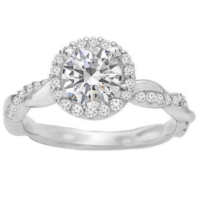 Alexandra Intertwined Engagement Ring in 14K White Gold; 0.35 ct