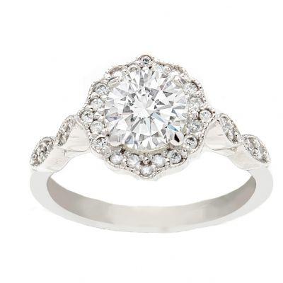 Arabella Engagement Ring 14K White Gold Halo 1.00ct