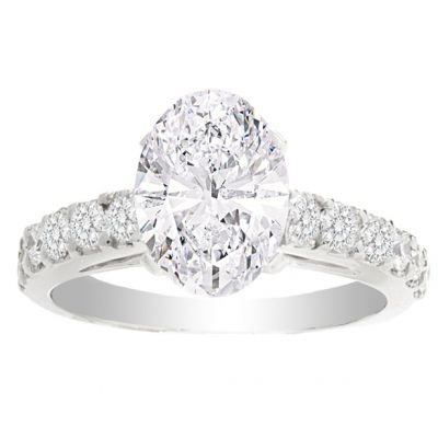 Andrea 14K White Gold Oval Engagement Ring; 2.06 ctw